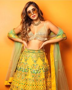 Our Favorite At The End Of November - AwesomeLifestyleFashion Sunshine Yellow Ever thought of yellow . Indian Attire, Indian Ethnic Wear, Indian Dresses, Indian Outfits, Lehnga Dress, Lehenga, Teen Celebrities, Celebs, Wedding Lehnga