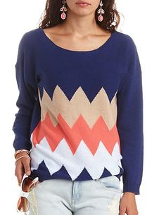 Scoop Neck Chevron Pullover Sweater: Charlotte Russe