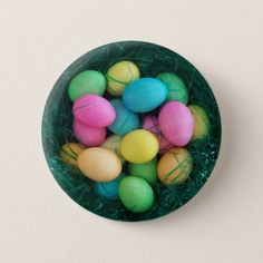 Shop Easter Egg Nest Button created by annaleeblysse. Egg Nest, Coloring Easter Eggs, Online Gifts, Personalized Gifts, Button, Easter Ideas, Create, Cards, Accessories