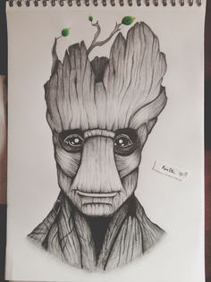 """""""I am Groot."""" Here is my drawing of Groot from the movie """"Guardians of the Galaxy"""" hope you will like it. :)  """"Je s'appelle Groot."""" Voici mon dessin de Groot, personnage du film """"les Gardiens de la Galaxie"""" j'espère que vous aimerez. :)"""