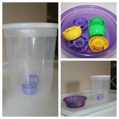 Lids off baby food pouches into plastic container with hole cut in lid