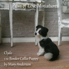 dolls house puppy dog by Mary Anderson - Paws of Love Miniatures Felt Animals, Animals And Pets, Cute Animals, Border Collie Puppies, Miniature Dogs, Felt Dogs, Animal 2, Felt Art, Dollhouses