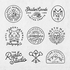 vintage logo A selection of branding elements done this year. I dont post as much of my logo/branding work and I get a few emails asking if its something I offer so yes, it absolutely is! Logo Branding, Branding Design, Corporate Branding, Brand Identity, Typographie Logo, Line Art, Logos Retro, Hipster Logo, Hipster Chic