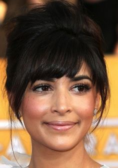Medium hairstyles with bangs - Updo with Swept bangs and tendrils