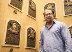 Growing up in the Boston area, Jeff Bagwell was a Carl Yastrzemski fan growing up. Pictured above, Bagwell stands beside Yastrzemski's plaque, months before he gets one of his own. (Milo Stewart Jr. / National Baseball Hall of Fame and Museum)