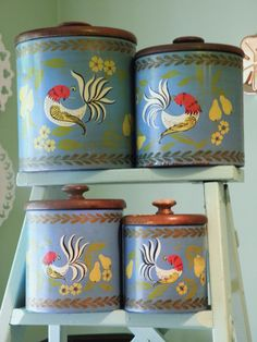 Vintage Ransburg Canister Set Folk Art Canister by Sugarcookielady,