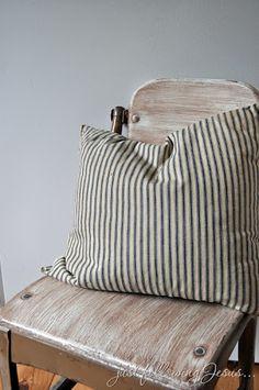 Vintage blue & white ticking (fabric)