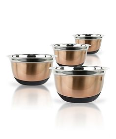 This Copper Stainless Steel Heavy Duty Euro Mixing Bowls Set by Micro World is perfect! #zulilyfinds