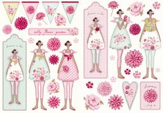 Flower garden clip art from Tilda. How cute! I can think of many uses for these.