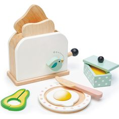 Breakfast Toaster Set - Tender Leaf Toys Play Food & Accessories | Maisonette Toaster, All Toys, Kids Toys, Mini Chef, Smoothie Mixer, Kids Play Food, Living Puppets, Butter Knife, Poached Eggs