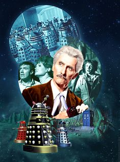 Dr Who & the Daleks. Digital artwork by Alistair McGown © 2018 Good Doctor, Doctor Who, William Hartnell, Peter Cushing, Dalek, Dr Who, Nostalgia, Stars, Digital