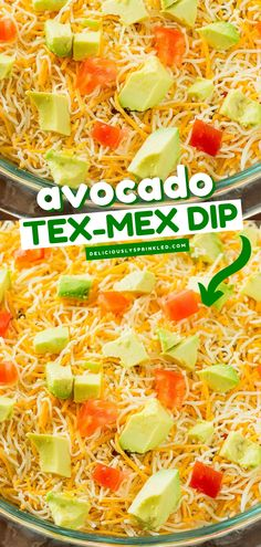 Taste the best of both worlds with this Avocado Tex-Mex Dip! This easy appetizer for a party has a layer of mashed avocados, taco dip and loaded with cheese, tomatoes, and olives! It would be a great 4th of July party idea! Snack Mix Recipes, Recipes Appetizers And Snacks, Yummy Recipes, Layered Taco Dip, Bite Size Food, Avocado Recipes, Tex Mex, Olives, Quick Easy Meals