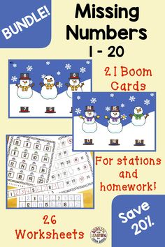 Missing Numbers Bundle - Boom Cards and Worksheets Kindergarten Lesson Plans, Teaching Kindergarten, Teaching Reading, Number Line Activities, Learning Activities, Missing Number, Interactive Board, Letter Identification, Author Studies
