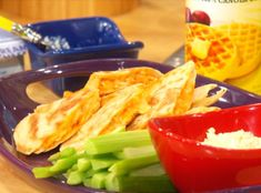 Rachel Ray - Katie Lee's Buffalo Chicken Quesadillas using a Rotisserie chicken. Yes football food! Katie Lee, Rachel Ray, Healthy Chicken Recipes, Mexican Food Recipes, Ethnic Recipes, Appetizer Recipes, Dinner Recipes, Appetizers, Party Recipes