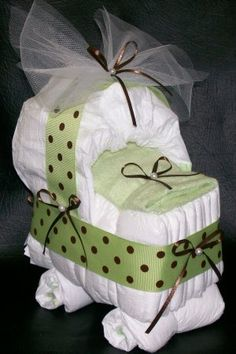 Green Sparkle Diaper Cake (120 Diapers,bling Butterflies, Keepsake Flower…