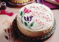Stencil Birthday Cake - Decorating with stencils is kids' play. So what are you waiting for, Dad? - bettycrocker.com
