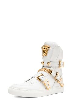 VERSACE|Tri Buckle Medusa Head Leather Sneakers in White & Gold