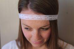 WHITE lace tie back headband wedding headband by tayleredforyou, $8.99