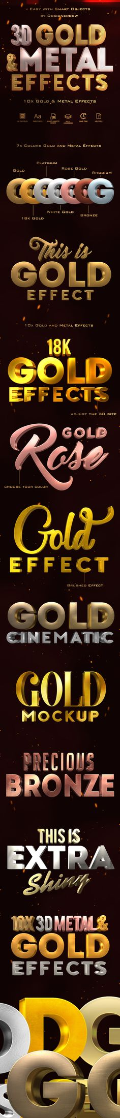 3D Gold and Metal Effects - #Text Effects #Actions Download here: https://graphicriver.net/item/3d-gold-and-metal-effects/19406450?ref=alena994