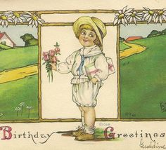 Child with Flower Bouquet and Present Kathryn от TheOldBarnDoor