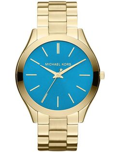 Michael Kors Slim Runway - Gold watch with turquoise dial