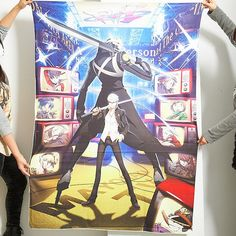 This super-big, super-plush microfiber towel features a high-quality print of the main visual of the popular game Persona 4 Arena! Pictured are the main character Yu Narukami bravely posed holding a katana with his persona Izanagi posed behind him facing the opposite way. Other popular characters from the game including Teddie are shown on the TV screens that line the side of the illustration. Gre...