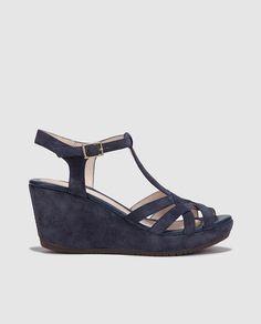 Sandalias de cuña de mujer Stonefly en piel azul