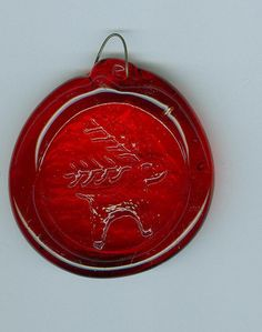 Glass Suncatcher Red with Reindeer Evergreen Antlers Handmade - Christmas in July SALE #cshort0319 $4.25 free ship