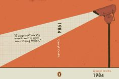 """Orwell's 1984 book cover also uses visual metaphor through the imagery of the security camera. The camera acts symbolism highlighting the main themes in the book, emphasises on the ideas of control, oppression and the destruction of privacy. The camera also symbolises the novel's motif of 'Big Brother,' where everyone  was constantly under surveillance and watched by  the secret police."""
