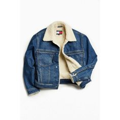 Tommy Jeans For UO Sherpa Lined Denim Trucker Jacket ❤ liked on Polyvore  featuring outerwear,