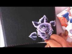 One stroke painting rosa oblique brush