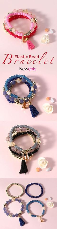[Newchic Online Shopping] 46% OFF 4 Pcs/set Pearl Glass Bead Bracelet with Tassel Crystal Pendant for Women