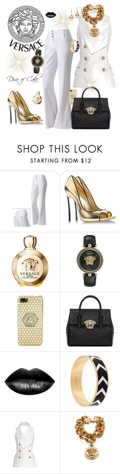 """""""Versace White black and gold outfit"""" by Diva of Cake on Polyvore featuring Byer California, Casadei, Versace, The Lip Bar, Givenchy and Balmain"""