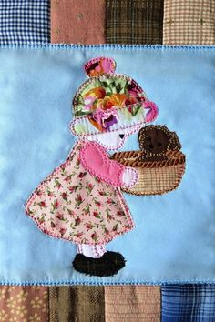 Sunbonnet Sue quilt in the hoop and machine embroidery design - Sweet Pea Bordados Tambour, Tambour Embroidery, Ribbon Embroidery, Machine Embroidery Projects, Hand Embroidery Patterns, Kids Lab Coat, Quilt Book, Sunbonnet Sue, Doll Quilt