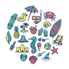 illustration | Beach Icons on @Behance by Travis Pietsch