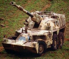 """Self Propelled Artillery vehicle from South Africa. With Battlefield Radar instantly pinpointing your position, Artillery needs to be able to """"shoot and scoot"""". Army Vehicles, Armored Vehicles, Self Propelled Artillery, George Patton, Tank Armor, Naval, Armored Fighting Vehicle, Battle Tank, Military Weapons"""