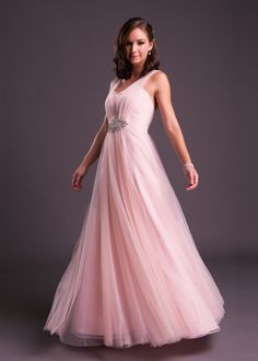 A #romantic soft and slim flowing #gown for your #engagement party! Look #pretty in #pink in this #chiffon #dress with illusion sleeves. (style VC2237). Click to book a fitting with a #brideandco style consultant. #dresses #fashion