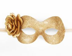 Gold Lace Masquerade Mask With Rose Lace Covered by SOFFITTA