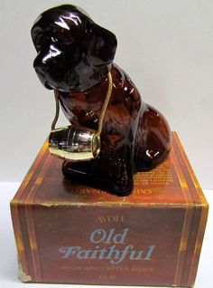 Vintage AVON, Old Faithful, Saint Bernard Dog Decanter / Bottle, with original box, Bottle is Empty by VINTAGEandMOREshop on Etsy https://www.etsy.com/listing/225182416/vintage-avon-old-faithful-saint-bernard