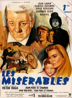 Les Miserables French 1958 Classic Movie with Jean Gabin as Jean Valjean
