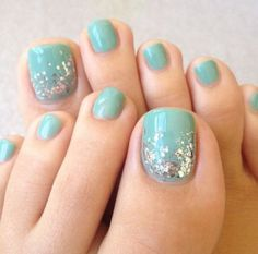 23 Fashionable Pedicure Designs to Beautify Your Toenails: #19. Blue Pedicure Nail Design