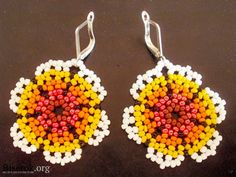 earrings, flowers from beads