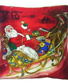 Add a festive touch to your seating area this Christmas with the Santa Sleigh Satin Throw Pillow that features a vibrant and jolly design.