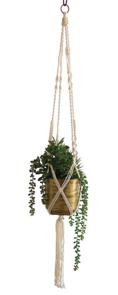 The Haversham Macrame Plant Hanger is a sure thing for those of us who embraced textiles in the 1970s. Taken by its artful design, we were especially wowed by the naturally woven yarn-and-rope combinat... Find the Haversham Macrame Plant Hanger, as seen in the Bohemian Outdoor Living in the Tropics Collection at http://dotandbo.com/collections/bohemian-outdoor-living-in-the-tropics?utm_source=pinterest&utm_medium=organic&db_sku=117352