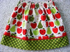Apples and Pears Skirt 18 mos 2T 3T 4T 5 6 7 by wickedcutekidz, $15.00