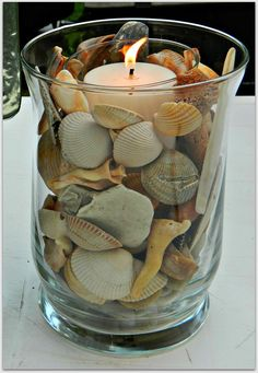 Crafts with shells - 42 inspiring ideas for creative Basteln mit Muscheln- 42 inspirierende Ideen für kreative Köpfe tinker with shells lanterns tinker candle - Seashell Art, Seashell Crafts, Beach Crafts, Home Crafts, Diy And Crafts, Crafts With Seashells, Seashell Decorations, Seashell Bathroom, Seashell Projects