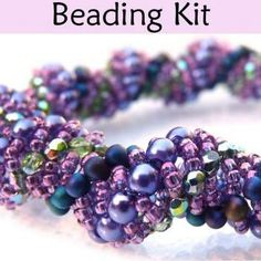 Beading Kit and Tutorial - Gorgeous Vine Bracelet in Purples and Greens #2492