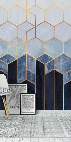 Soft Blue Hexagons Wall Mural / Wallpaper Abstract Soft Blue Hexagons wall mural from happywall Hexagon Wallpaper, Art Deco Wallpaper, Soft Wallpaper, Wallpaper For Walls, Blue Geometric Wallpaper, Office Wallpaper, Bedroom Wallpaper Modern, Blue And Gold Wallpaper, Accent Wallpaper