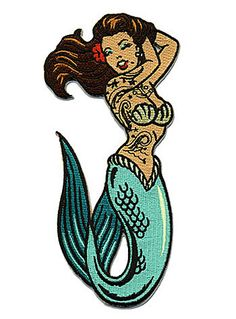 Tattooed Mermaid Iron-On Patch by Retro-a-go-go!, GREEN
