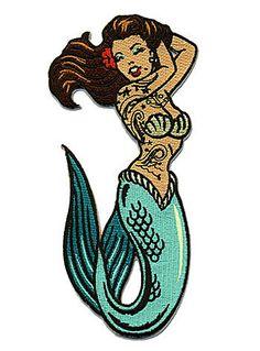 Tattooed Mermaid Iron-On Patch at ShopPlasticland.com